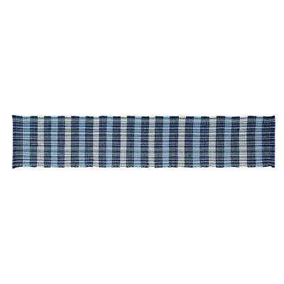 Cottage Plaid Woven Blue Cotton Table Runner