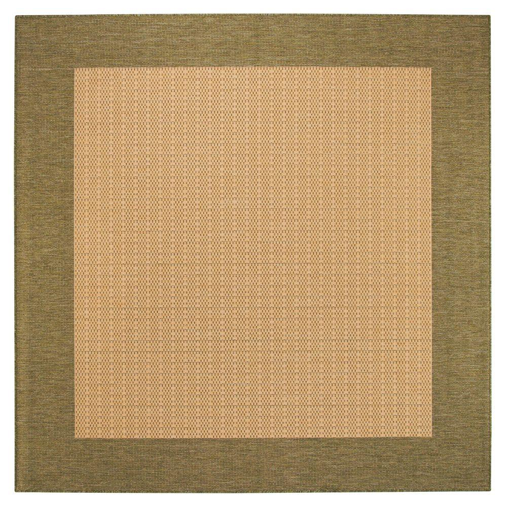 Checkered Field Natural/Green 8 ft. 6 in. Square Area Rug
