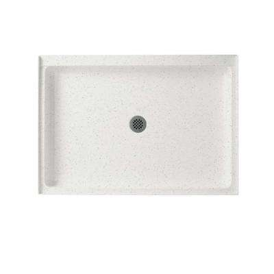 34 in. x 48 in. Solid Surface Single Threshold Center Drain Shower Pan in Arctic Granite