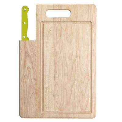 Essentials 2 Piece Wooden Cutting Board With Santoku Knife