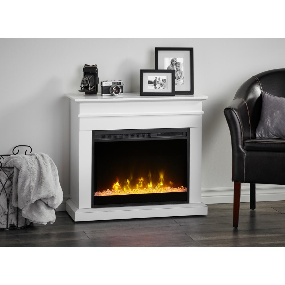 Tremendous C3 Jasmine 31 In Mantel With A 23 In Electric Fireplace In White Interior Design Ideas Grebswwsoteloinfo