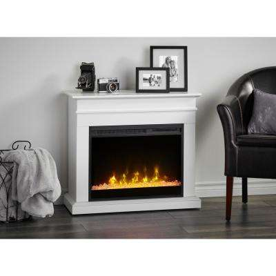 Jasmine 31 in. Mantel with a 23 in. Electric Fireplace in White
