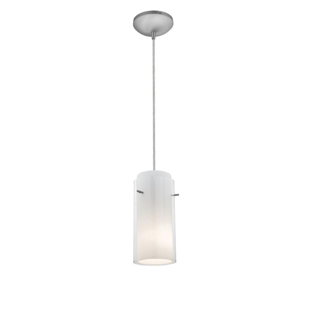 Access Lighting Gl N 1 Light Brushed Steel Metal Pendant With Clear Opal Shade