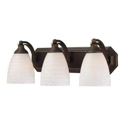 3-Light Aged Bronze Wall Mount Vanity Light