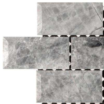Tundra Grey 2 x 4 Beveled 3 in. x 6 in. x 10 mm Marble Mosaic Tile Sample