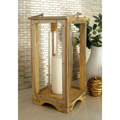 21 in. Modern Brown and Tan Tall Glass and Iron Candle Lantern
