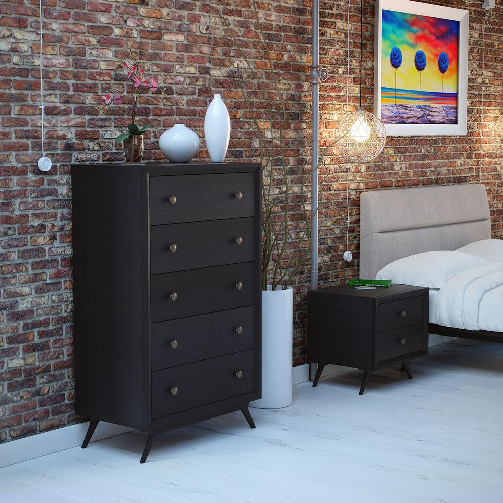 Tracy 5-Drawer Black Chest