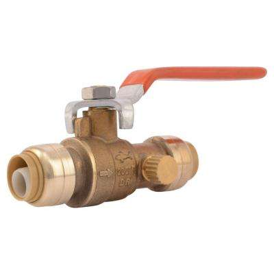 1/2 in. Brass Push-to-Connect Ball Valve with Drain