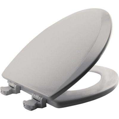 Lift-Off Elongated Closed Front Toilet Seat in Ice Grey