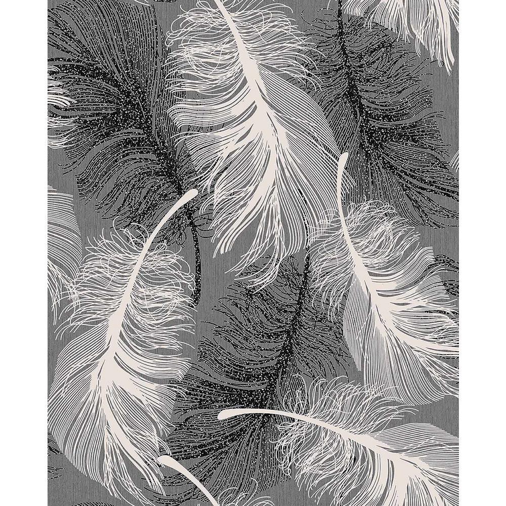 Hurston Black Feather Wallpaper Sample