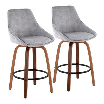 Diana 25.50 in. Solid Back Counter Height Stool in Grey Corduroy and Walnut Wood with Round Black Footrest (Set of 2)