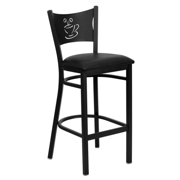 Flash Furniture 30.5 in. Black Cushioned Bar Stool XUDG614COFBBLKV