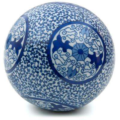 Oriental Furniture 6 in. Decorative Porcelain Ball - White with Blue Medallions