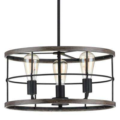 Fairforest 3-Light Matte Black with Aged Oak Accents Chandelier