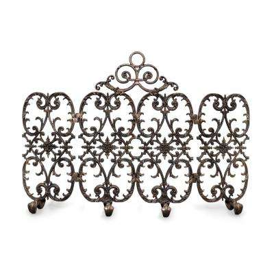 Siena Bronze 4-Panel 56 in. wide Fireplace Screen with Arch