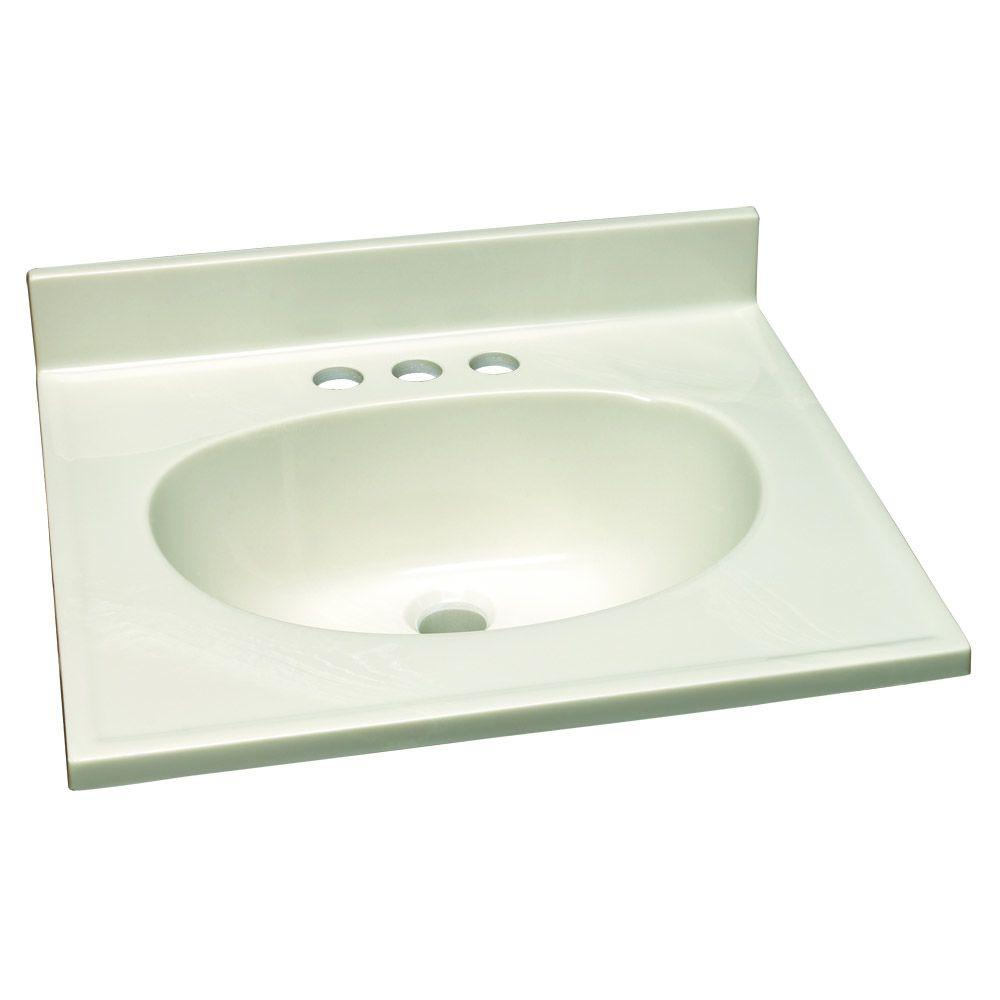 19 in. W Cultured Marble Vanity Top with White on White