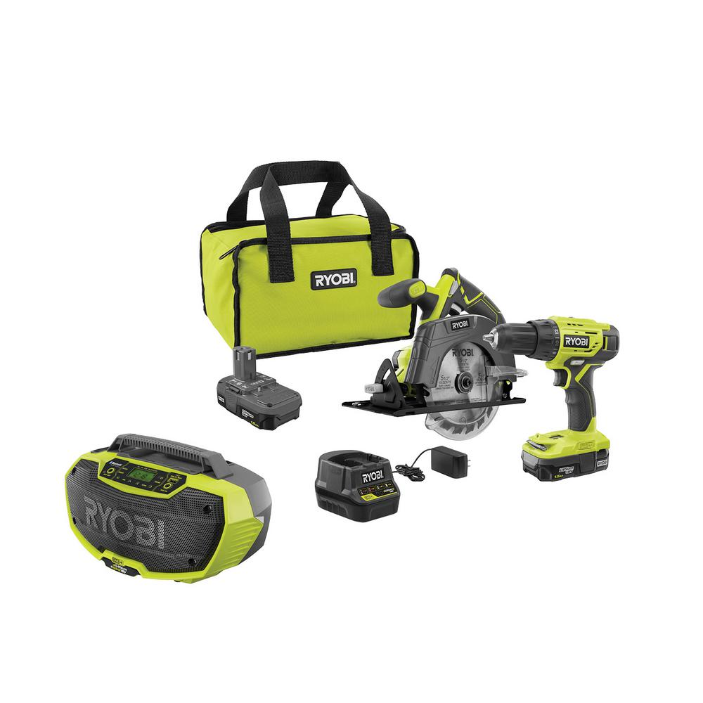 RYOBI 18-Volt ONE+ Cordless 2-Tool Drill/Driver and Circular Saw Combo Kit with Hybrid Stereo