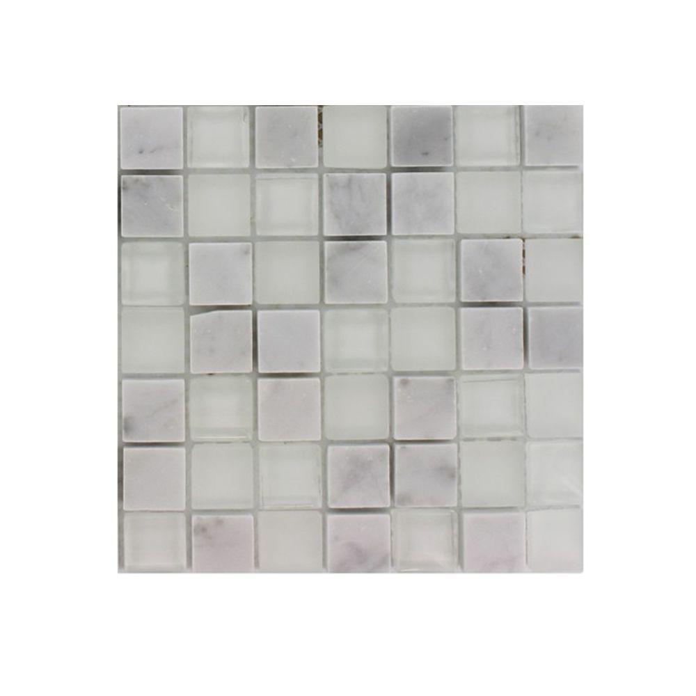 Splashback Tile Tetris Carrera Ice 3/4 in. x 3/4 in. Square Glass Tile Sample