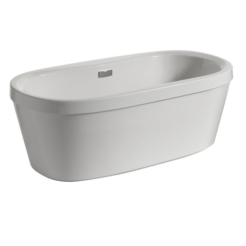 Delta synergy 5 ft acrylic freestanding bathtub with for Pros and cons of acrylic bathtubs