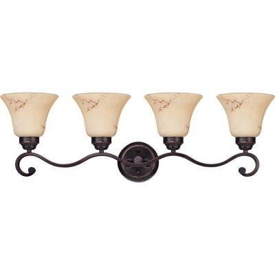 4-Light Copper Espresso Vanity Light with Honey Marble Glass