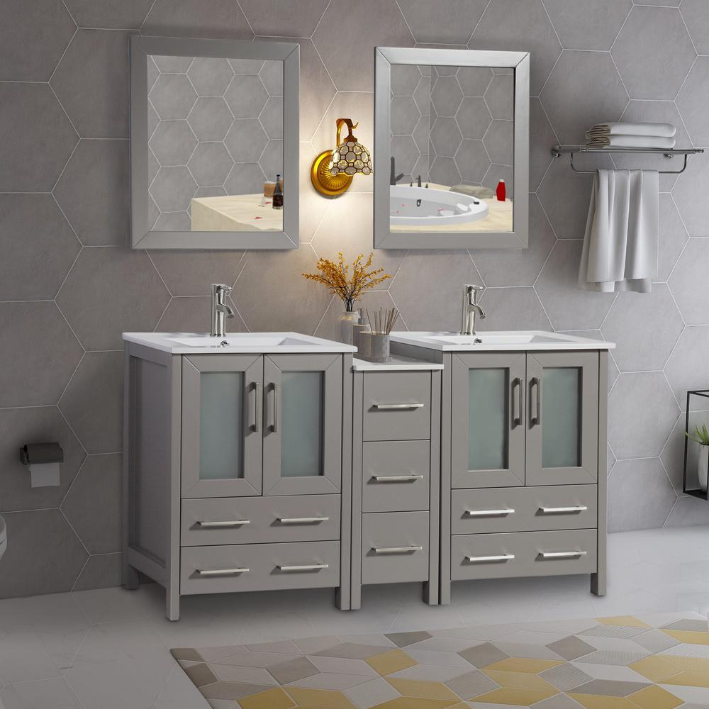 Vanity Art Brescia 60 in. W x 18 in. D x 36 in. H Bath Vanity in Grey with Vanity Top in White with White Basin and Mirror