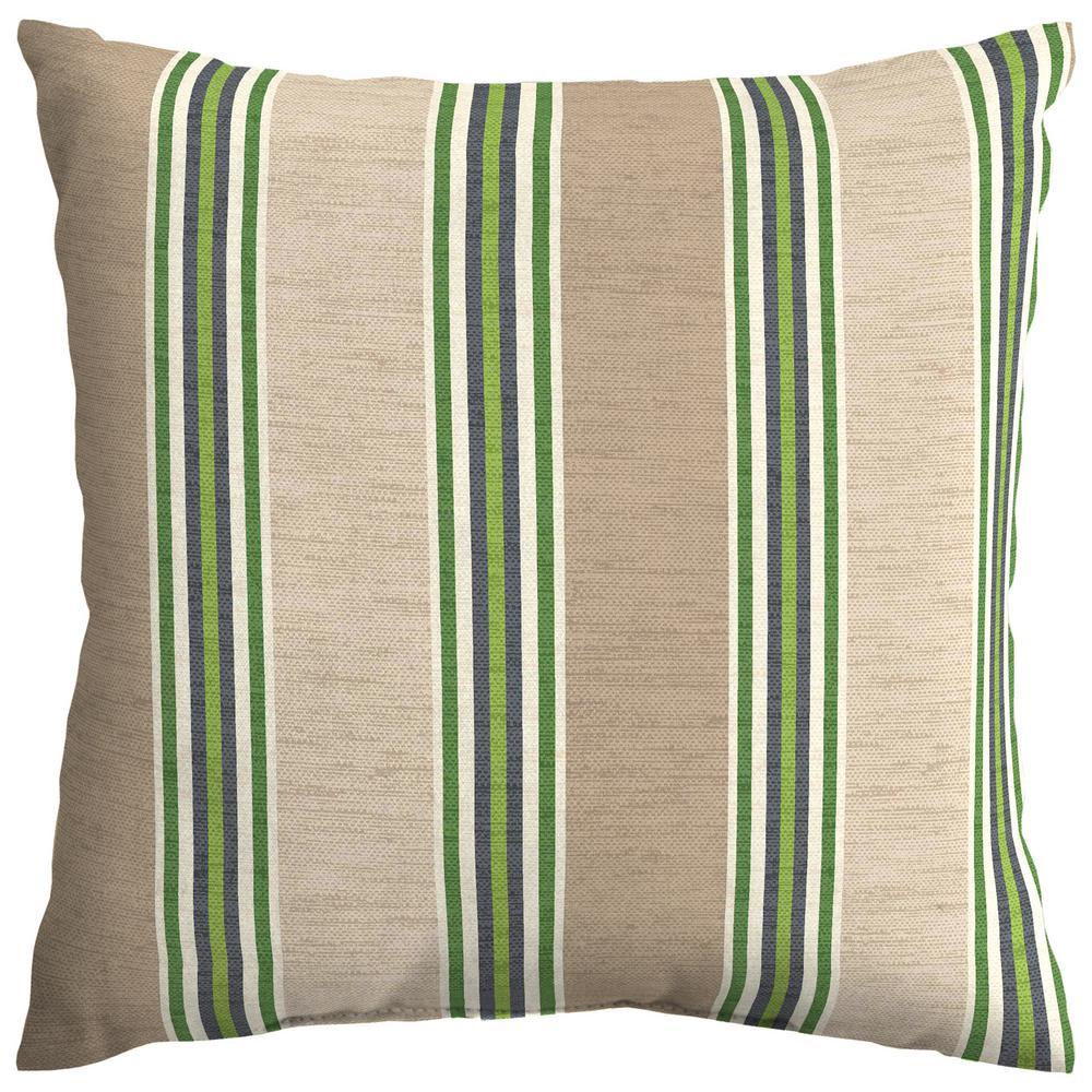 Fern Stripe Square Outdoor Throw Pillow