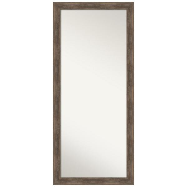 Hardwood Mocha 28.75 in. x 64.75 in. Rustic Rectangle Full Length Brown Framed Floor Leaner Mirror