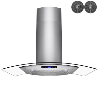 30 in. Convertible Wall Mount Range Hood in Stainless Steel with Tempered Glass, Touch Controls and Carbon Filters
