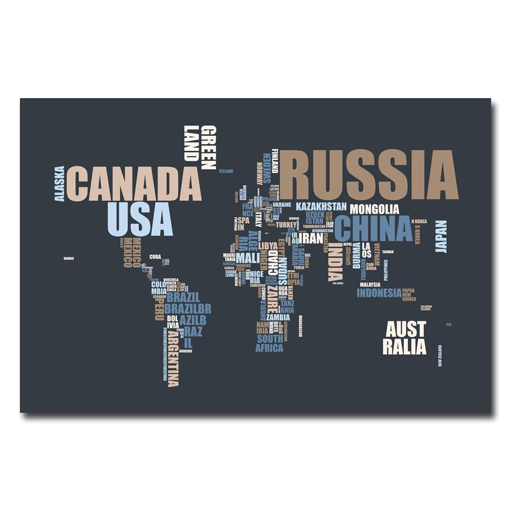 16 In X 24 World Text Map Canvas Art MT0174 C1624GG