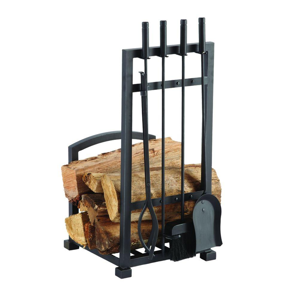 Keep logs and tools neatly organized with this combination log holder and fireplace toolset. It features a sturdy base with an arched detailed design to beautifully accent your fireplace and keep tools