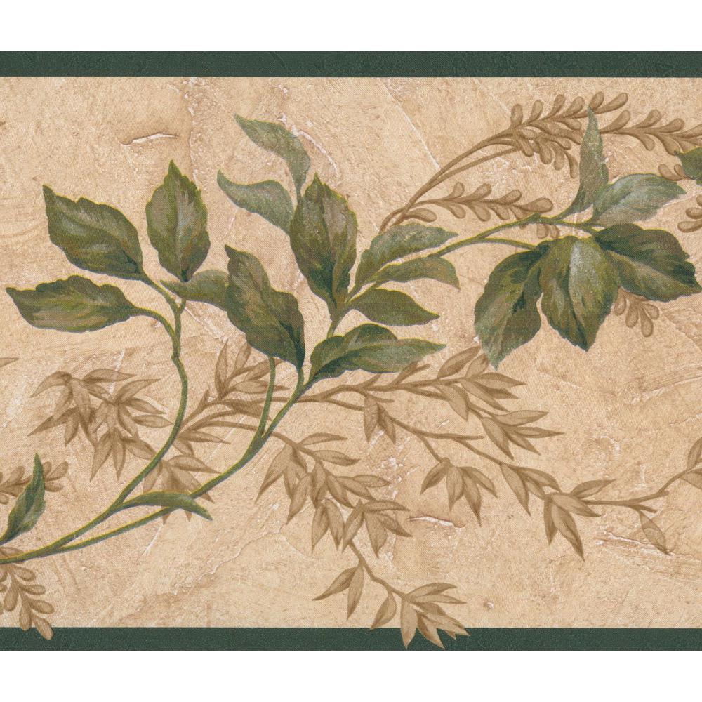 Green Brown Leaves on Vines Beige Floral Vintage Prepasted Wallpaper Border