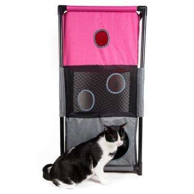 Pink and Grey Kitty-Square Obstacle Soft Folding Sturdy Play-Active Travel Collapsible Travel Pet Cat House Furniture