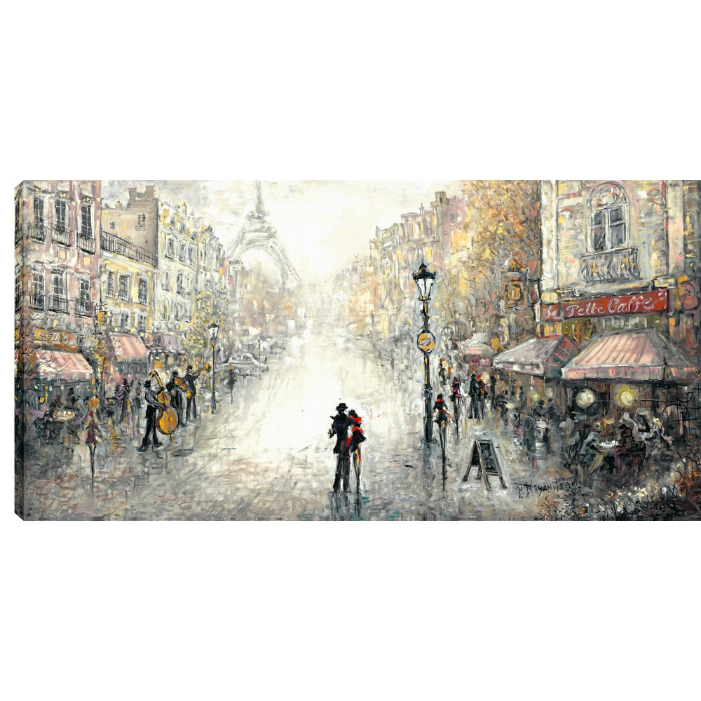 Dancing By The Streetside Cafe Printed Canvas Wall Art