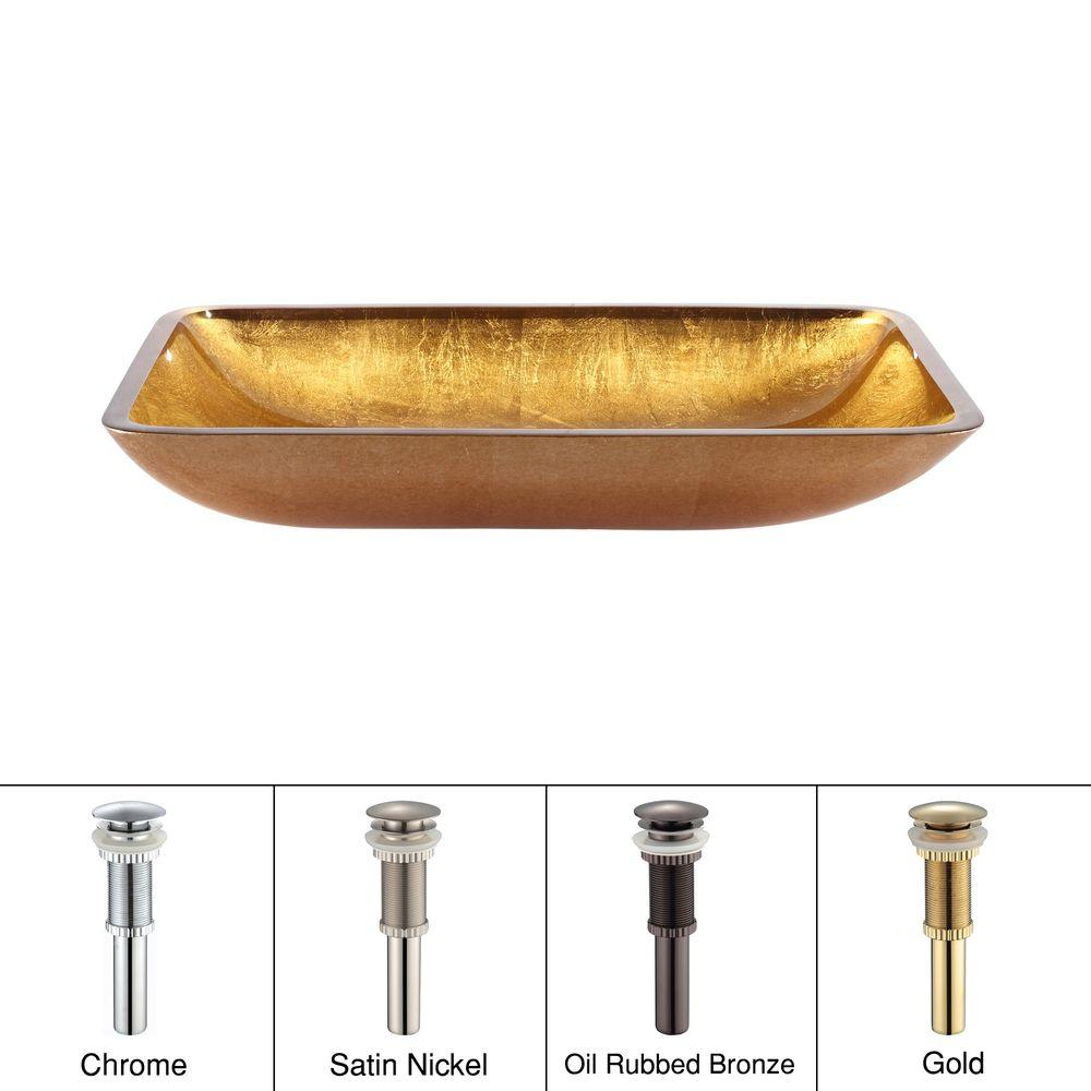 KRAUS Golden Pearl Rectangular Glass Vessel Sink in Gold with Pop-Up Drain in Chrome