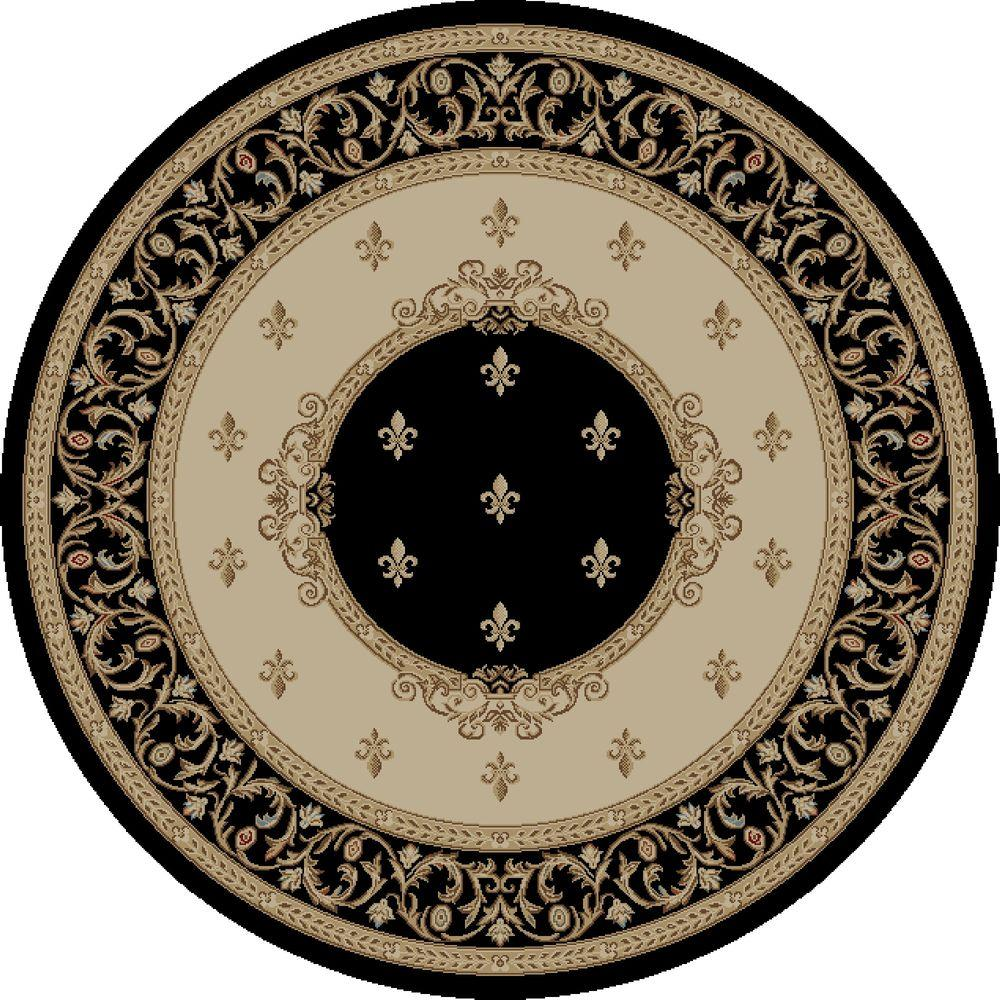 Jewel Fleur De Lysmedallion Black 5 ft. 3 in. Round Area