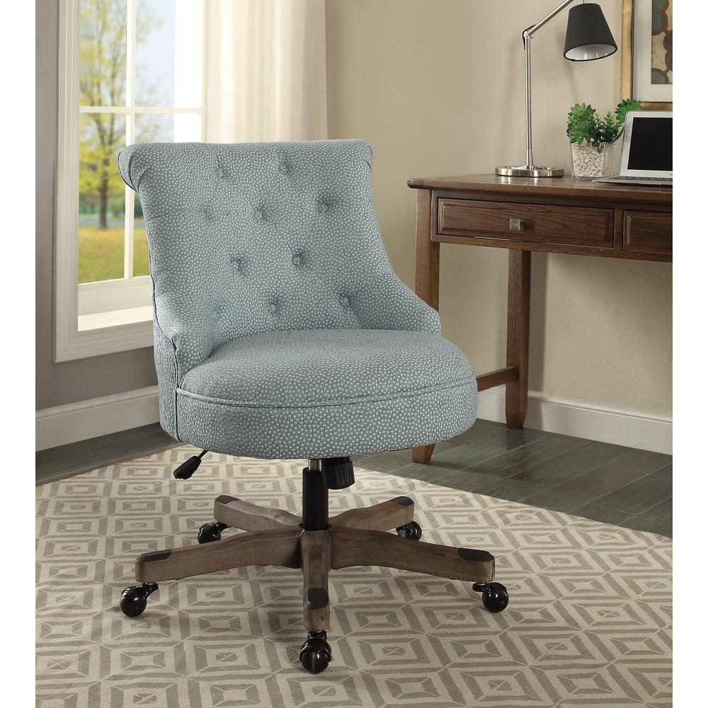 Linon Home Decor Sinclair Light Blue with White Polka Dots Upholstered Fabric and Gray Wood Base Office Chair 178403LTBLU01U - The Home Depot & Linon Home Decor Sinclair Light Blue with White Polka Dots ...