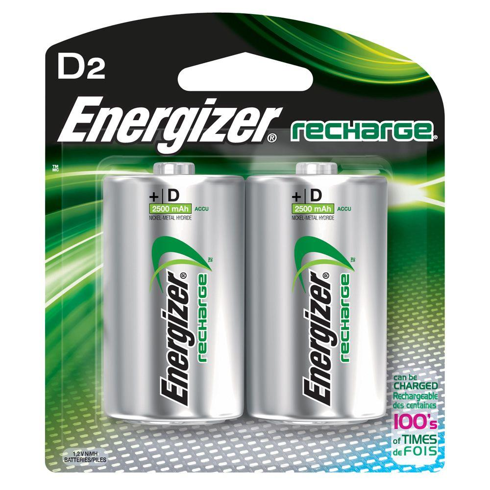 energizer nimh d 1 2 volt rechargeable battery 2 pack nh50bp 2 the home depot. Black Bedroom Furniture Sets. Home Design Ideas