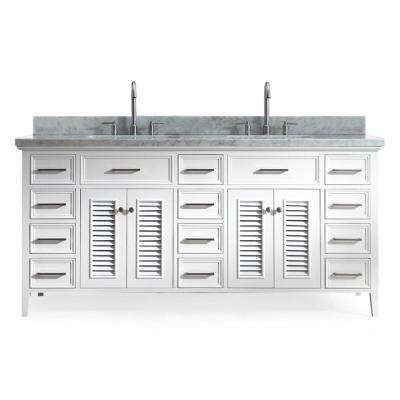 Kensington 73 in. Bath Vanity in White with Marble Vanity Top in Carrara White with White Basin