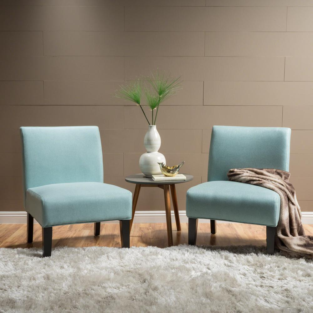 Noble House Kassi Light Blue Fabric Accent Chairs Set Of 2 299760