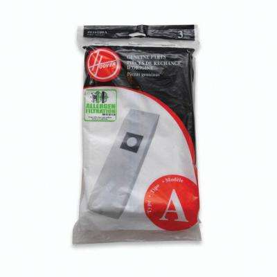 Type A Allergen Filtration Bags for Select Hoover Upright Cleaners (3-Pack)