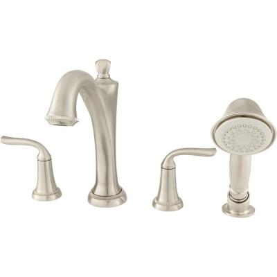 Patience 2-Handle Deck-Mount Roman Tub Faucet for Flash Rough-in Valves with Hand Shower in Brushed Nickel