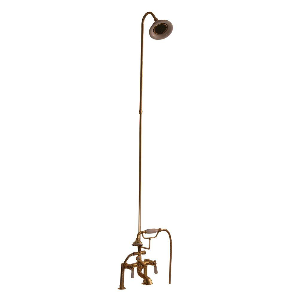 Barclay Products 3-Handle Claw Foot Tub Faucet with Riser, Hand Shower and Showerhead in Polished Brass