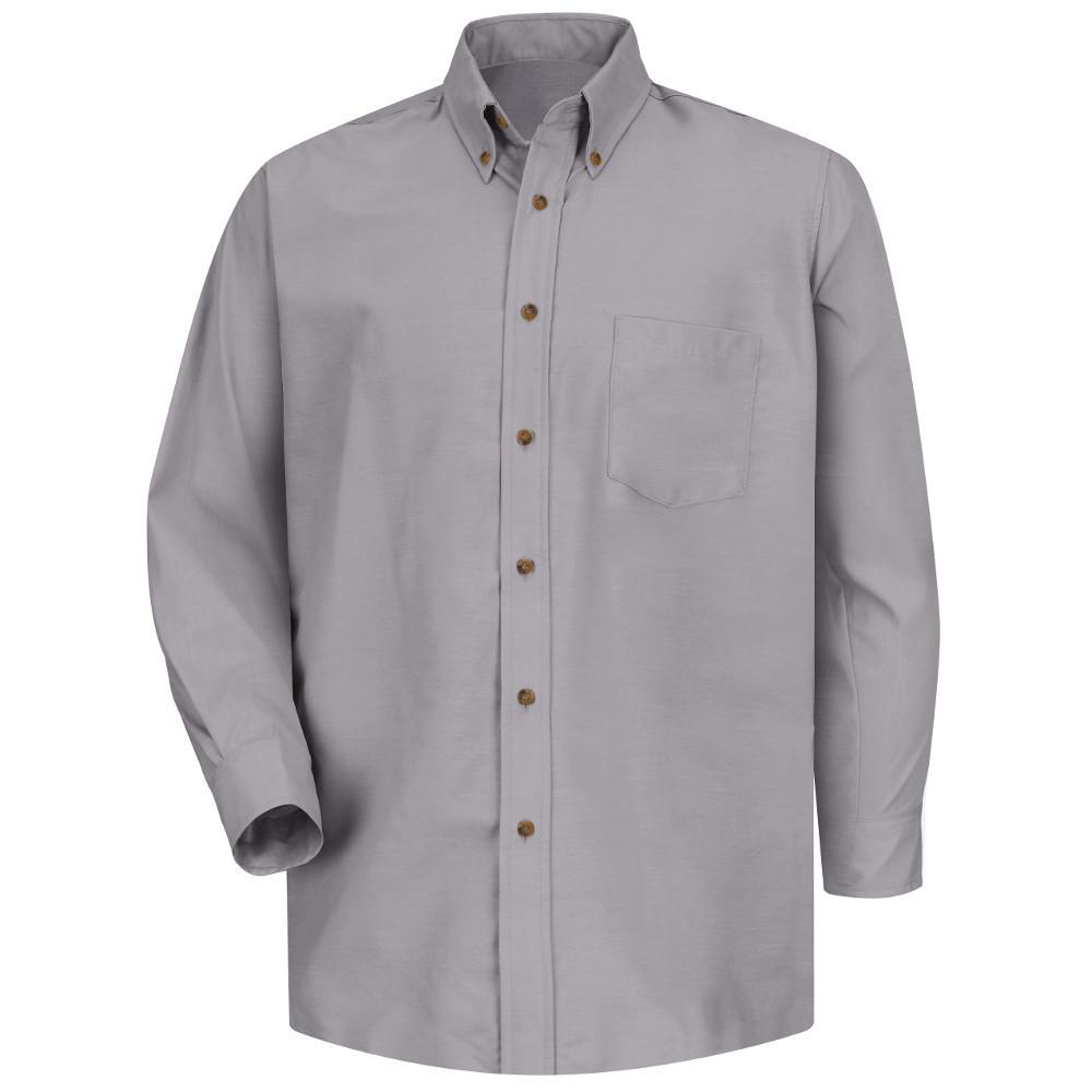 Red Kap Mens Size 3x Large 3435 Silver Grey Poplin Dress Shirt