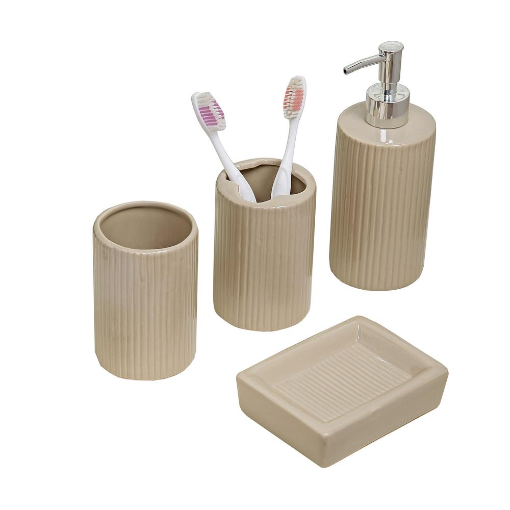 indecor home 4-piece bath accessory set in taupe