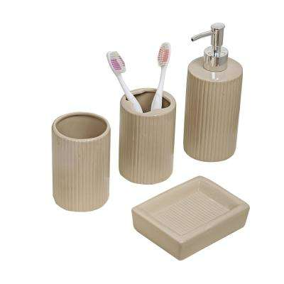 4-Piece Bath Accessory Set in Taupe