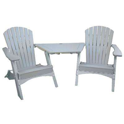 Sandstone 3-Piece Poly-Lumber Folding Patio Conversation Set