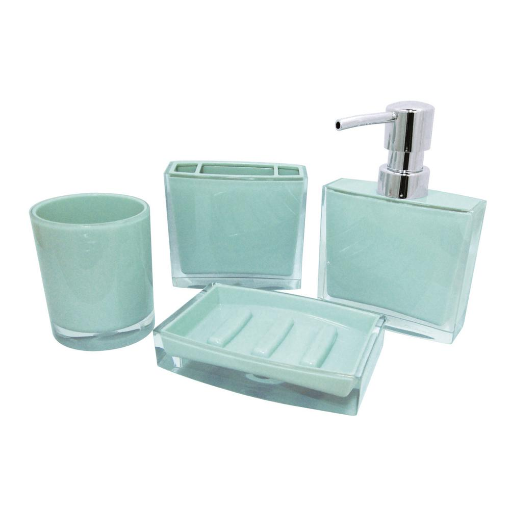 Contemporary 4-Piece Bath Accessory Set in Azul Blue