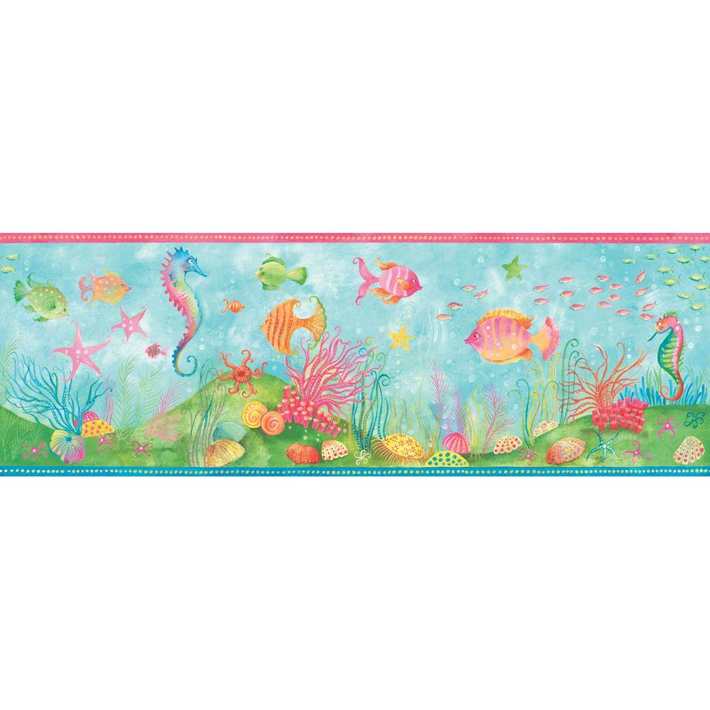 The Wallpaper Company 9.25 in. x 15 ft. Brightly Colored Fun 'N' Flirty Fish Border