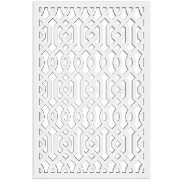 Azzaria 32 in. x 4 ft. White Vinyl Decorative Screen Panel
