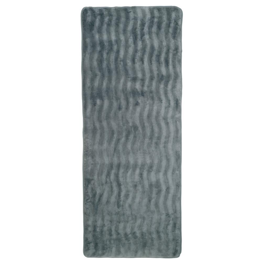 24.5 in. x 60 in. Memory Foam and Microfiber Bath Mat in Platinum